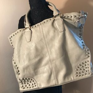 Handbags - Grey Vegan Leather Large Studded Satchel  Bag